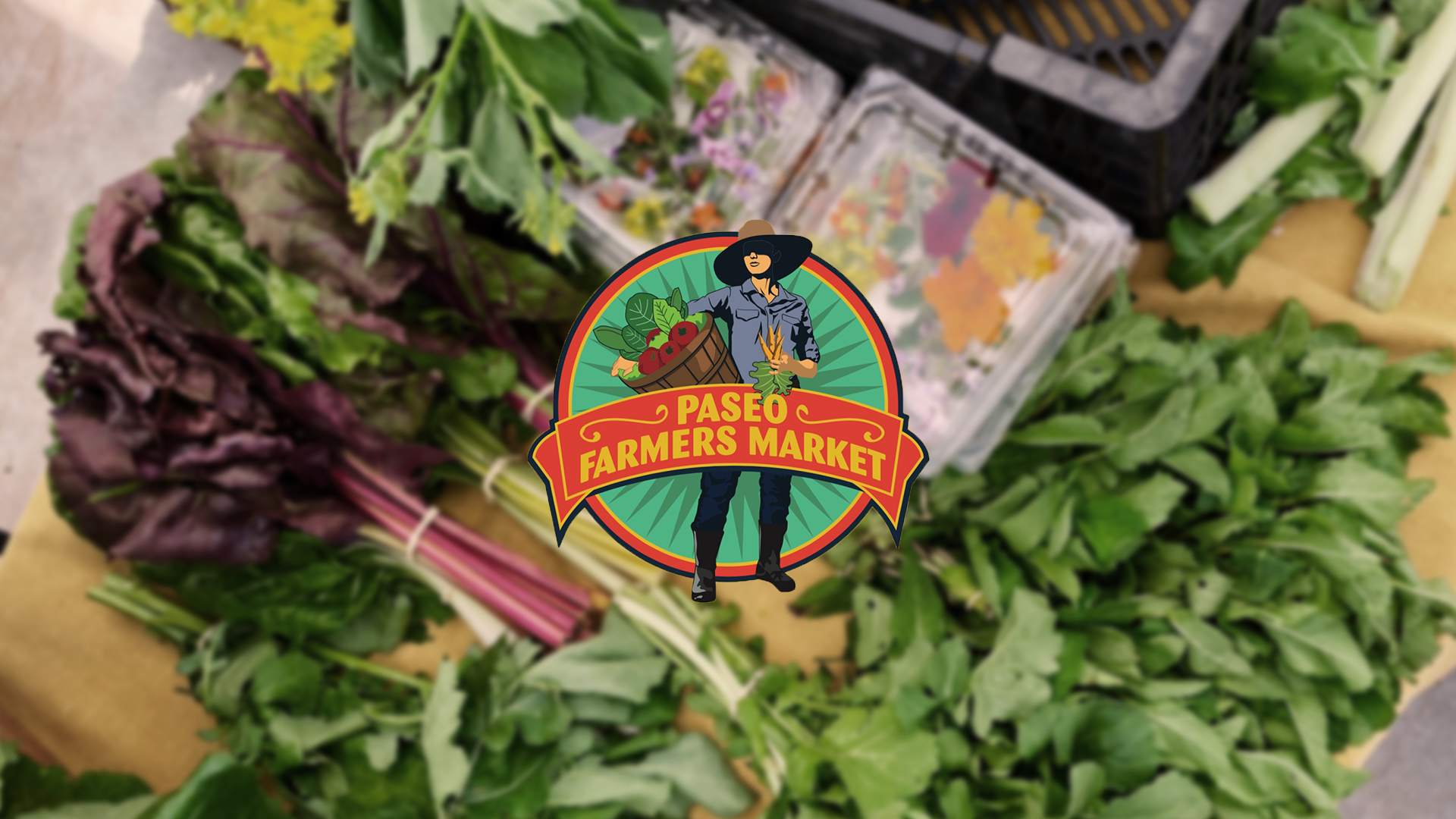 Paseo Farmers Market logo with produce background
